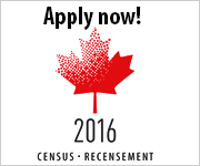 Image of a stylized maple leaf with the year 2016. Additional text reads: Apply now! Census-Recensement.