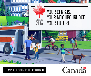 Stylized image of an urban neighbourhood showing adults and children walking and riding bicycles. Image text includes: Census 2016, Your census, Your neighbourhood, your future.